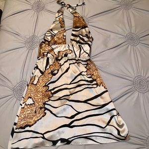 Bebe Silk Halter Zebra Dress